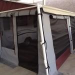 grey canvas with maroon trim