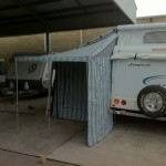 Rear awning with wall